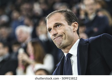 Turin, Italy, 2 November 2016. UEFA Champions League, Juventus vs Lyon 1-1. Massimiliano Allegri, coach Juventus