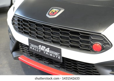 TURIN, ITALY - 22 JUNE 2019: The Abarth 124 Rally Tribute at the International motor show of Turin