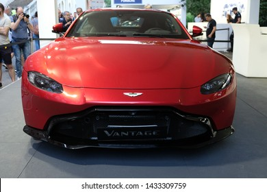 TURIN, ITALY - 22 JUNE 2019: The Aston Martin Vantage at the International motor show of Turin.