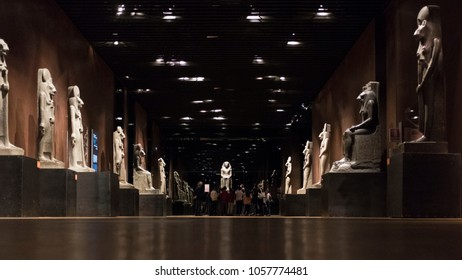 Turin, Italy - 23 March 2018: group of children in the Egyptian museum.