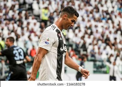 Turin, Italy. 25 August 2018. Campionato Italiano di SerieA, Juventus vs Lazio 2-0. Cristiano Ronaldo, Juventus.
