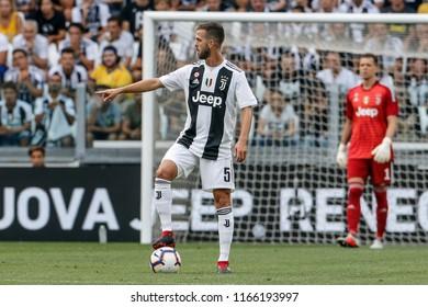 Turin, Italy. 25 August 2018. Campionato Italiano di SerieA, Juventus vs Lazio 2-0. Miralem Pjanic, Juventus.