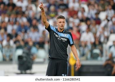 Turin, Italy. 25 August 2018. Campionato Italiano di SerieA, Juventus vs Lazio 2-0. Sergej Milinkovic Savic, Lazio.