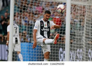 Turin, Italy. 25 August 2018. Campionato Italiano di SerieA, Juventus vs Lazio 2-0. Sami Khedira, Juventus.