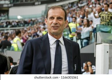 Turin, Italy. 25 August 2018. Campionato Italiano di SerieA, Juventus vs Lazio 2-0. Massimiliano Allegri, manager Juventus.