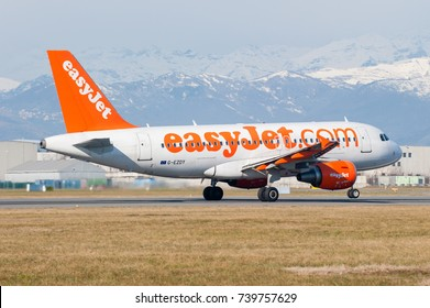Turin, Italy, 26th January 2014: Airbus aircraft operated by Easyjet takes off from Turin Caselle Airport
