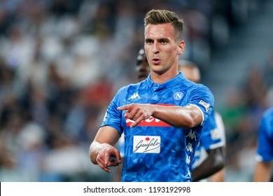 Turin, Italy. 29-09-2019. Campionato Italiano Serie A. Juventus vs Napoli 3-1. Arkadiusz Milik, Napoli.