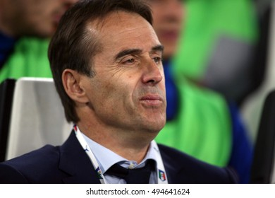 Turin, Italy 6 october, 2016:Julen Lopetegui in action during the match European Qualifiers Russian World Cup 2018  between Italy vs Spain in Juventus  stadium in Turin on October 2016.