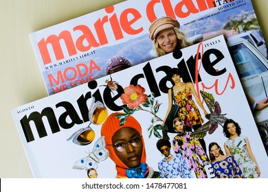 Turin, Italy - April 16, 2019: heap of Marie Clair fashion magazines