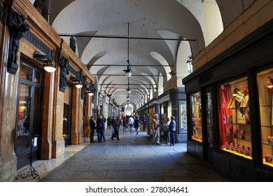 TURIN, ITALY - APRIL 18: arcades via Po, on April 18, 2015 in Turin, Italy