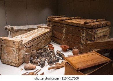 TURIN, ITALY - APRIL 2018: Egiptyan museum in Turin. Some precious things that were buried in the pharaohs's tomb during the Egyptian civilization.