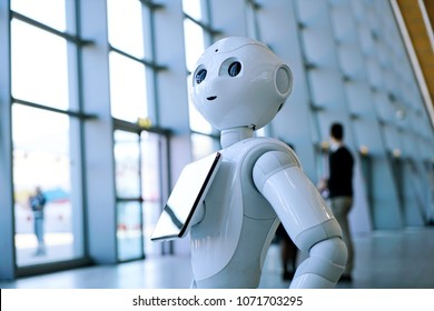 "Turin, Italy - April 2018: ""Pepper"" robot assistant with information screen in duty to give information"