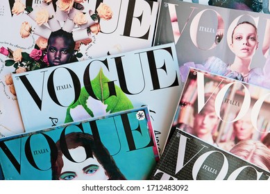 Turin, Italy - April 2019: Heap of Vogue Italia magazines, Italian edition of Vogue magazine, the top fashion magazine in the world.