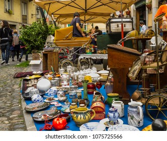 """Turin, Italy - April 28, 2012: Antiques shop in the """"Balon"""", the typical flea market of Turin. It is located near the market of Porta Palazzo, the largest open-air market in Europe."""