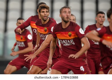 TURIN, ITALY - August 1, 2020:  Federico Fazio in action during the Serie A 2019/2020 JUVENTUS v ROMA at Allianz Stadium.