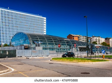 TURIN, ITALY - AUGUST 14, 2014: The new Torino Porta Susa station is the main railway and subway station in town (HDR)