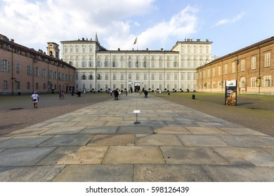 TURIN, ITALY - August 3, 2016: Monuments of the Piazza Castello, one of the main city squares in Turin, Italy. Palazzo Reale and Palazzo Madama e Casaforte degli Acaja.
