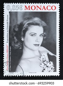 TURIN, ITALY - AUGUST 4, 2017: A stamp printed in Monaco showing princess Grace Kelly, circa 2007
