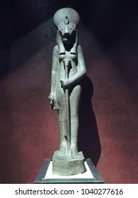 TURIN, ITALY - CIRCA AUGUST 2015: Statue of Goddess Sekhmet daughter of the sun at Museo Egizio (meaning Egyptian Museum)