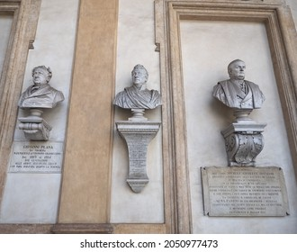 TURIN, ITALY - CIRCA AUGUST 2021: Statues of Carlo Boucheron, Giovanni Plana and Michele Giuseppe Dionisio at Turin University circa XIX century by unknown artist