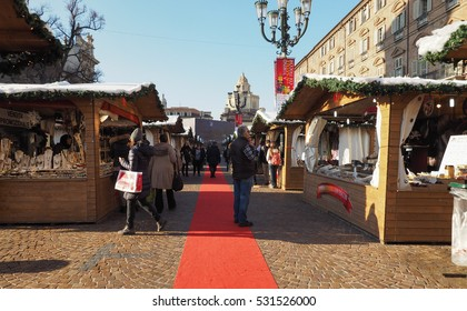 TURIN, ITALY - CIRCA DECEMBER 2016: Mercatino di Natale (meaning Christmas Market)