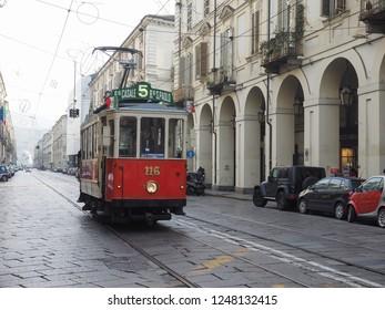 TURIN, ITALY - CIRCA DECEMBER 2018: Vintage 116 tram (built in 1911) at Trolley Festival