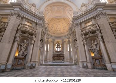 TURIN, ITALY - CIRCA FEBRUARY, 2018: Santo Umberto church inside Venaria Royal Palace - Reggia Venaria. It was the former royal residence of the Savoy family.