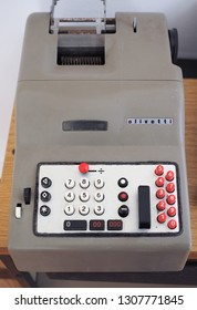 TURIN, ITALY - CIRCA FEBRUARY 2019: Olivetti Divisumma electromechanical printing calculator designed by Natale Capellaro and Marcello Nizzoli in 1947