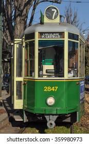 TURIN, ITALY - CIRCA JANUARY 2016: A vintage historical tramway