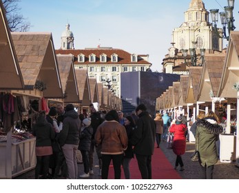 TURIN, ITALY - CIRCA JANUARY 2018: Christmas market in Piazza Castello square