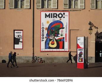 TURIN, ITALY - CIRCA JANUARY 2018: Joan Miro exhibition at Palazzo Chiablese museum