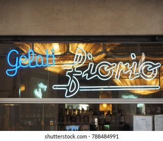 TURIN, ITALY - CIRCA JANUARY 2018: Gelati Fiorio ice cream shop storefront