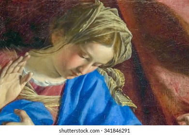 TURIN, ITALY - CIRCA JULY 2015 - A detail of an old baroque painting of the Virgin Mary in the moment of the Annunciation in Turin