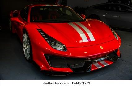 Turin, Italy, circa june 2018, Ferrari 488 Pista presentation