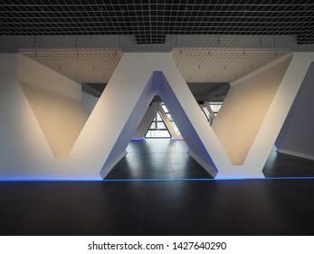 TURIN, ITALY - CIRCA JUNE 2019: Exhibition space at Palazzo Lancia (Lancia Palace) aka Grattacielo Lancia (Lancia Skyscraper) designed by Nino Rosani and Gio Ponti in 1953