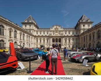 TURIN, ITALY - CIRCA JUNE 2019: Salone Auto di Torino (meaning Turin Motorshow), free outdoor car exhibition in Valentino park