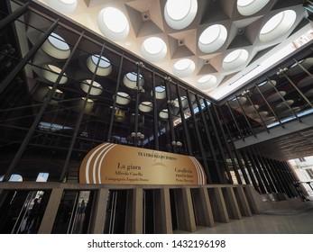 TURIN, ITALY - CIRCA JUNE 2019: Teatro Regio (meaning Royal Theatre) designed by architect Carlo Mollino