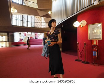 TURIN, ITALY - CIRCA JUNE 2019: Foyer of Teatro Regio (meaning Royal Theatre) designed by architect Carlo Mollino in the sixties