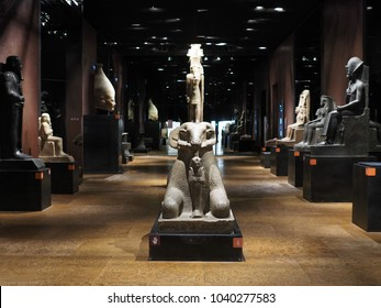TURIN, ITALY - CIRCA MARCH 2017: Statues at Museo Egizio (meaning Egyptian Museum)