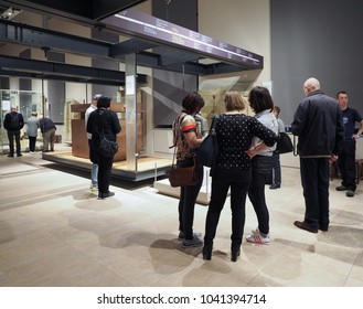 TURIN, ITALY - CIRCA MARCH 2017: Tourists visiting the Museo Egizio (meaning Egyptian Museum)
