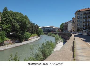 TURIN, ITALY - CIRCA MAY 2016: Einaudi campus of Turin University on River Dora banks