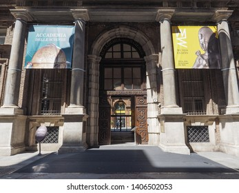 TURIN, ITALY - CIRCA MAY 2019: Museo Egizio (meaning Egyptian Museum) entrance