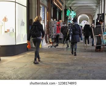 TURIN, ITALY - CIRCA NOVEMBER 2018: People in Via Po colonnade portico