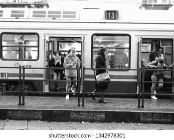 TURIN, ITALY - CIRCA NOVEMBER 2018: Tramway public transport train in Via Po in black and white
