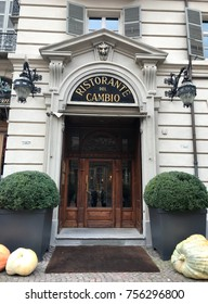 """TURIN, ITALY, CIRCA OCTOBER 2017: the facade of the famous Italian restaurant """"Il Cambio"""" (""""The Change"""")."""