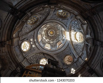 TURIN, ITALY - CIRCA OCTOBER 2018: Cupola cappella della Sindone meaning Holy Shroud chapel dome at Turin Cathedral