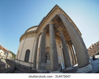 TURIN, ITALY - CIRCA SEPTEMBER, 2015: Turists visiting the Church of La Gran Madre seen with fisheye lens