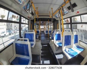 TURIN, ITALY - CIRCA SEPTEMBER, 2015: Interior of a public transport bus seen with fisheye lens