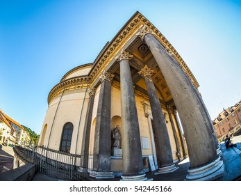 TURIN, ITALY - CIRCA SEPTEMBER, 2015: Turists visiting the Church of La Gran Madre seen with fisheye lens (HDR)