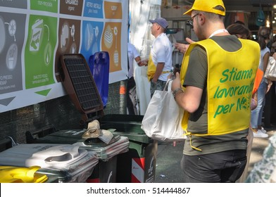 TURIN, ITALY - CIRCA SEPTEMBER 2016: Waste sorting for ecological reuse of materials such as glass paper cans